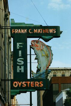 """squaremeal:""""Mathews Fish Market - Savannah Georgia (by swampzoid)"""" Old Neon Signs, Vintage Neon Signs, Old Signs, Savannah Georgia, Savannah Chat, Advertising Signs, Vintage Advertisements, Tybee Island, Roadside Attractions"""