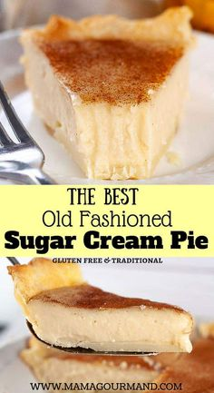 Vegetarian · Serves 8 · Sugar Cream Pie, also known as Indiana or Hoosier Pie, is filled with a gloriously thick, creamy, vanilla custar. Easy Pie Recipes, Cream Pie Recipes, Custard Recipes, Sweet Recipes, Amish Sugar Cream Pie Recipe, The Best Custard Pie Recipe, Egg Custard Pie Recipe With Evaporated Milk, Simple Custard Recipe, Gourmet