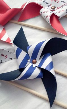 Pinwheels - nautical, anchors, stripes, red white and blue, summer, ocean, birthday party, baby shower.