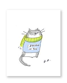 I believe in you Cat Card Inspirational Card by jamieshelman