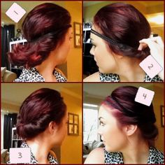 Super easy four step hairstyle for any length hair! https://shearbeautyetc.wordpress.com/2013/08/06/4-step-hairstyle-for-anyone/ Hairstyles for short hair, hair styles for long hair, hairstyles for medium length hair, easy hairstyles, hairstyles with headbands, easy updos