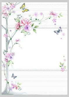"""""""Floral"""": """"Cherry Blossoms & Butterflies"""" letter pad, designed by Victoria Nelson Borders For Paper, Borders And Frames, Art Carte, Paper Frames, Stationery Paper, Floral Border, Flower Backgrounds, Writing Paper, Note Paper"""
