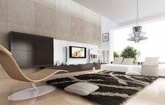 Large minimalist living room - Interior designs for your home Modern Contemporary Living Room, Living Room Modern, Living Room Interior, Living Room Designs, Living Spaces, Living Rooms, Modern Rugs, Contemporary Design, Living Room Area Rugs