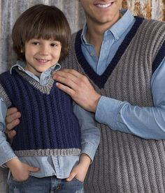 Free Knitting Pattern for 2 Row Repeat Seeded Rib Vest - Easy vest in child and men's sizes knit in two row repeat seeded rib. Designed by Jodi Lewanda