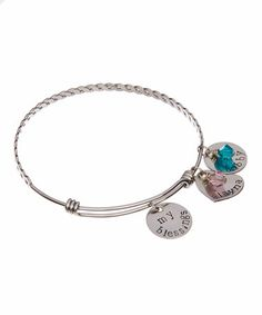 Loving this Stainless Steel Personalized 'My Blessings' Birthstone Bangle on #zulily! #zulilyfinds