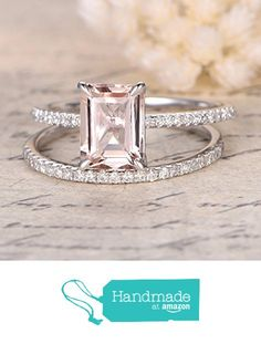 Emerald Cut Morganite Engagement Ring Bridal Set Pave Diamond Wedding 14K White Gold 6x8mm from the Lord of Gem Rings https://www.amazon.com/dp/B01HILGJDK/ref=hnd_sw_r_pi_dp_gzABxb20FMWMY #handmadeatamazon