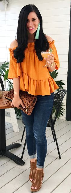 #spring #outfits  Orange Off The Shoulder Top & Brown Open Toe Pumps & Leopard Clutch