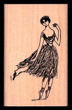 Edward Gorey Ballerina Rubber Stamp