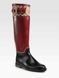Burberry - Leather and Vintage Check Rain Boots - Saks.com