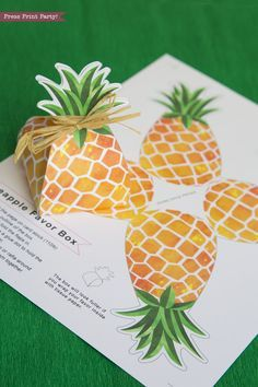 Pineapple Favor Box printable Luau Party Favor Treat Box Party like a pineapple this summer with this cheery pineapple favor box. Great for a Luau Party and sure to get noticed. No glue assembly. By Press Print Party!