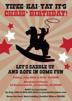 Cowboy Cowgirl Birthday Party Invitation Rocking by OhCreativeOne