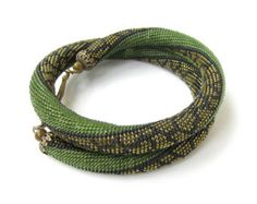 Olive Green necklace Beaded crochet necklace by DolgovaSvetlana Seed Bead Necklace, Seed Bead Jewelry, Green Necklace, Beaded Jewelry, Beaded Necklace, Jewellery, Crochet Beaded Bracelets, Bead Crochet Rope, Beaded Crochet
