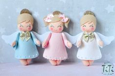 Christmas ornaments felt Angel SET of 3 Christmas by TiTics Christmas Angel Ornaments, Felt Ornaments, Christmas Art, Angel Crafts, Felt Crafts, Christmas Crafts, Elf Decorations, Felt Angel, Fairy Dolls