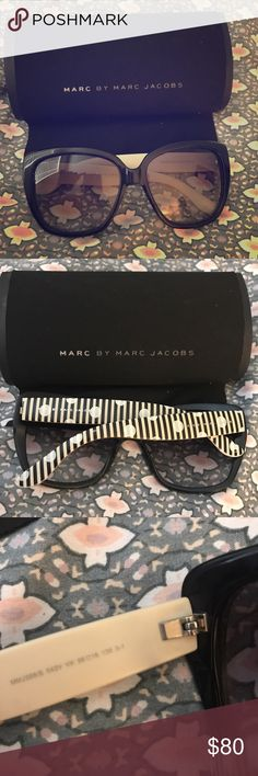 Marc by Marc Jacobs sunglasses 😎 Very cute oversized sunglasses 😎 preowned, minimal scratches on lenses. Comes with cloth & case. Marc by Marc Jacobs Accessories Sunglasses