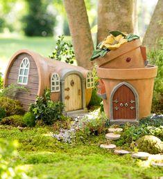 Miniature Fairy Garden Solar Flower Pot Home | Garden Statuary