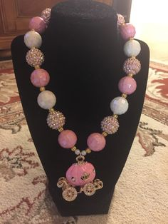 Beaded Jewelry, Beaded Necklace, Unique Jewelry, Toddler Jewelry, Princess Carriage, Chunky Beads, Pink Princess, Etsy Shop, Trending Outfits