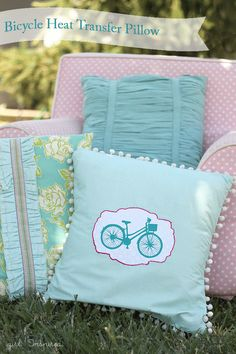 DIY Bicycle Pillow with Silhouette Heat Transfer material | Girl. Inspired.