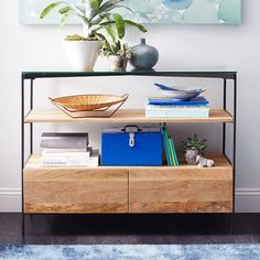 Glass-Topped Rustic Storage Console | west elm