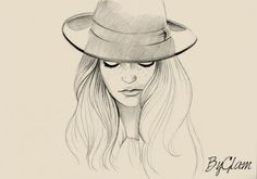 Simple line drawing of girl in a hat.