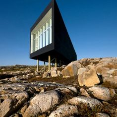 The Shorefast Foundation and the Fogo Island Arts Corporation commissioned Todd Saunders of Saunders Architecture to create a series of six artists' studios on Fogo Island, which is located outside of Newfoundland, Canada.  Read more at Design Milk: http://design-milk.com/fogo-island-artist-studios-in-canada-by-saunders-architecture/#ixzz22btnOB6V