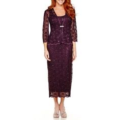 jcp | R&M Collection 3/4-Sleeve Sequin Lace Jacket Dress