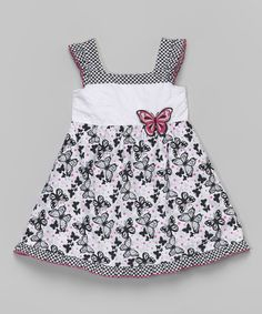 Look at this #zulilyfind! Black & Pink Gingham Butterfly Dress - Infant, Toddler & Girls by Sophie Fae #zulilyfinds