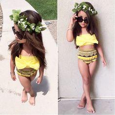 $6.99 - Boho Kids Baby Girl Bow Swimsuit Swimwear Bathing Suit Bikini Set Clothes Outfit #ebay #Fashion