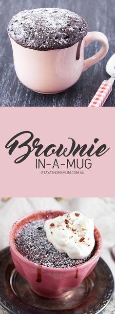 This decadent Brownie-In-A-Mug is the perfect after dinner treat. Great with fresh cream or ice cream, this simple recipe only takes a matter of minutes!