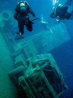 """The Zenobia "" ship in the top 10 wreck dives worldwide. Underwater Shipwreck, Underwater Ruins, Underwater World, Underwater Pictures, Abandoned Ships, Abandoned Places, Scuba Diving Equipment, Ferry Boat, Ocean Creatures"