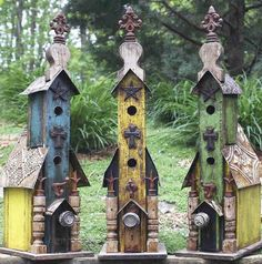 Colorful birdhouses with varied adornments, iron cross and tin roof are well suited for feathered friends or for an unusual accent in any room. Reclaimed wood and architectural elements from old house