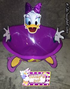 Purple Daisy Duck Snack bowl and Matching Food tent Mickey Mouse clubhouse Birthday Party Decorating ideas food and dessert table menu ideas