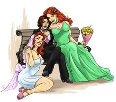 Scandal Savage, Knockout and Liana at their wedding~*~*~ Gay Comics, Dc Comics Characters, Fictional Characters, Yuri, Lgbt, Polyamorous Relationship, Fandom, Marvel, Gay Art