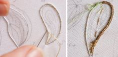 WIRE SLIPS STUMPWORK TUTORIAL Wire is the foundation for many 3-D creations such as leaves, petals & wings. 1. Start by shaping a wire (#22 up to #30) around the fabric drawing. 2. Tack the wire to the fabric using little stab stitches around the shape.