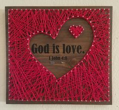 God is love - 1 John This sign is approximately size: 11 x 12 Walnut String Art Templates, String Art Patterns, Doily Patterns, Dress Patterns, Nail String Art, String Crafts, Auction Projects, Art Projects, Arte Linear