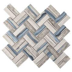 Supreme Tile Slender Linear Mosaic Tile & Reviews | Wayfair Marble Mosaic, Glass Mosaic Tiles, Mosaic Wall, Stone Mosaic, Shower Floor, Tile Floor, Wood Tile Shower, Bathtub Shower, Blue Backsplash