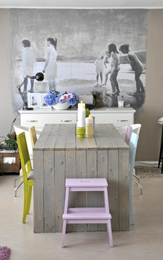 Dining table and colorful chairs