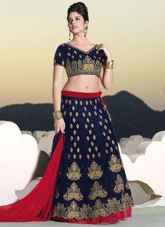 Royal Blue Velvet Fancy Designer Work Lehenga Choli http://www.angelnx.com/Lehenga-Choli