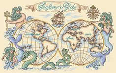 Maria Diaz Designs: SEAFARERS GLOBE (Cross-stitch chart)