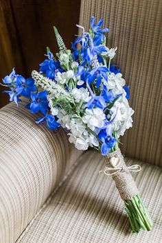 blue and white delphinium bridal bouquet