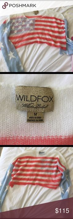 Wildfox American flag cropped sweater AS SEEN ON VICTORIAS SECRET MODEL ROSIE HUNTINGTON! Wildfox super lightweight American flag print cropped sweater! Never worn! Wildfox Couture Sweaters