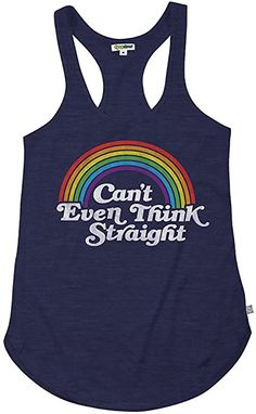 5688ff6dc18755 Amazon.com  Tipsy Elves Women s Rainbow Pride Tank Top - Funny LGBT Shirts  (Can t Think Straight