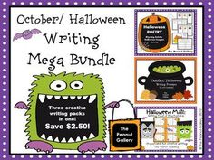 The 71 page October and Halloween Writing Mega Bundle includes three creative writing packs at a discounted rate. The bundle includes Halloween Poetry (rhyming activity and writing couplets), Halloween Mail (writing point of view postcards), and October/ Halloween Writing Prompts in two formats. ($)
