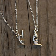 Microscope necklaces - great gift for scientists, doctors, nurses, med students, & teachers. #microscope #science #jewelry #geek