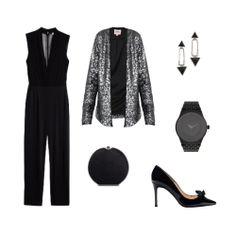 Look de fiesta en tonos negro y plata, con mono de H&M, chaqueta de Only, de El Armario de la Tele, bolso de mano de Zara, zapatos de salón de Uterqüe, reloj de Parfois  y pendientes de H&M.