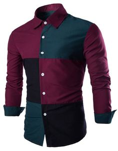 Color Block Stitching Slimming Shirt Collar Long Sleeve Stylish Cotton Blend Shirt For Men
