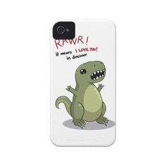 Rawr means I love you in dinosaur iPhone 4 Case-Mate Cases ($7.41) ❤ liked on Polyvore