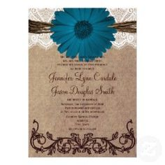 Rustic Blue Gerber Daisy Lace Wedding Invitation