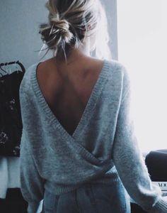Grey open back sweater