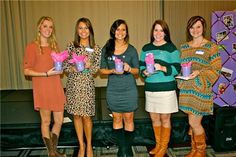 Several lucky sisters won door prizes at Theta Phi's Founder's Day Luncheon!