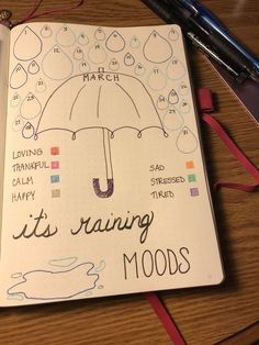 (April showers bring may flowers)It'd be cute for April! (April showers bring may flowers) December Bullet Journal, Bullet Journal Notebook, Bullet Journal Aesthetic, Bullet Journal School, Bullet Journal Mood Tracker Ideas, Bullet Journal Ideas Pages, Bullet Journal Calendrier, Bellet Journal, Bulletins
